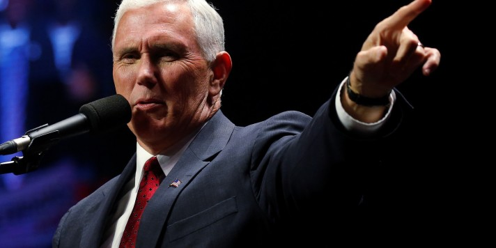 Republican vice presidential nominee Mike Pence attends a campaign rally in Manchester